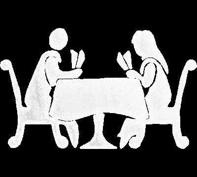 Jente og gutt sitter på bordet. Illustrasjon.
