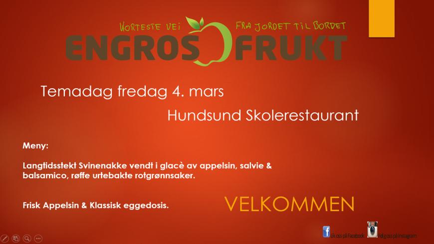 Tema- dag på Hundsund Skolerestaurant fredag 4 mars